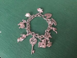 Silver charm Bracelet with 11 charms