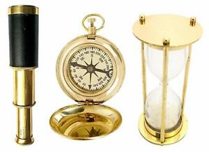 Magnetic Compass + Pocket Telescope + 1 Minute Brass Hourglass Combo Kids Activ