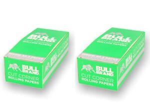 100 Packs x Full Box Bull Brand Green Cut Corners Rolling Papers Tobacco Smoking