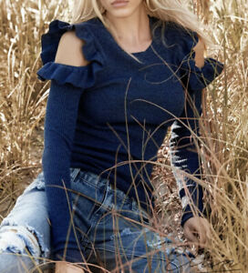 Medium Ladies ELAN Blue Cold-Shoulders Ribbed Sweater