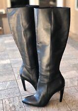 Via Spiga Black Leather Pointed Toe Stiletto Zip Tall Boots Women's 6 M