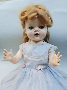 """Antique Pedigree Walker 1950'S Doll Made in England 54 cm (21"""" )Tall Blond Hair"""