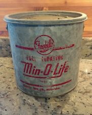VINTAGE FRABIL'S FULL FLOATING MIN-O-LIFE #1480 GALVANIZED MINNOW BUCKET