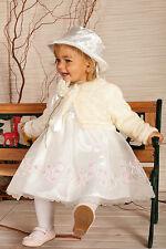 ABITO DA BATTESIMO vestito cerimonia femminuccia avorio-panna tg 62-98 cod 1496
