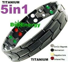 TITANIUM Magnetic Energy Armband Power Bracelet Bio GERMANIUM 5in1 Magnet 54879
