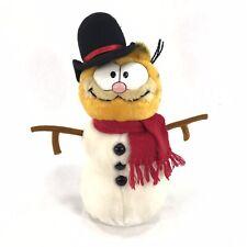 Vintage 1981 DAKIN Plush Garfield Holiday Christmas Snowman Red Scarf