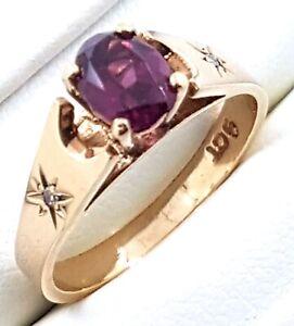 9k Rhodolite Garnet and Diamond  RING_375 yellow gold