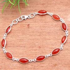 "Solid Natural Orange Carnelian Gemstone Bracelet 925 Sterling Silver Jewelry 8"""