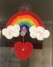"""🌈❤️Hand crochet """"A Family's Love is forever"""" heart Sequin Rainbow Gift"""