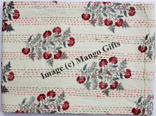 Queen Kantha Quilt Floral Bedspread Handmade Blanket Throw Indian Gudari Beige