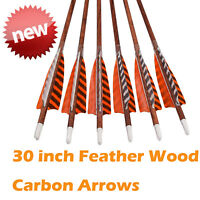 "30"" Feather Carbon Arrows Wood Camo Shaft SP400 Traditional Bow Shooting"