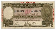 Australia 10 Shillings ND 1934 Riddle Sheehan R.10 Fine Note RARE George V