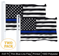 2 PACK 3'x5' THIN BLUE LINE USA FLAG LAW ENFORCEMENT SUPPORT 150D Polyester