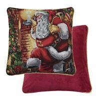 2 X Santa Claus Navidad Regalos Tejido Tapiz Rojo Dorado Funda de Cojín 45.7cm
