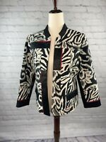 CHICO'S Pieced Animal Print Open Front Long Sleeve Jacket Sz 1 Medium  Red Black