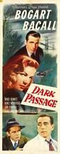 DARK PASSAGE Movie POSTER 14x36 Insert B Humphrey Bogart Lauren Bacall Agnes