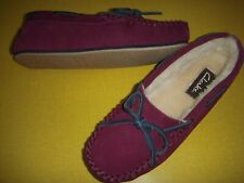 Clarks Moccasins Suede Slippers w/Faux Fur Lining & Bow Women's 6 M Wine 6M ~