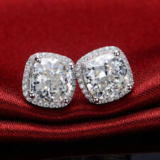 4.25Ct Cushion Brilliant Cut Moissanite Halo Stud Earrings 14K White Gold Finish