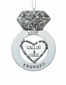 Engagement Ring Personalized Christmas Tree Ornament