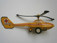 VINTAGE OLD FRICTION TIN TOY AIRCRAFT HELICOPTER AMBULANCE 1970's