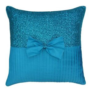 S4Sassy Decor Blue Sequins Decorative Cushion Cover Bow Gift Pillowcase-ZPO