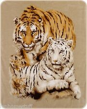 "TIGER TIGERS WHITE & YELLOW QUEEN 79""X96"" SOFT MEDIUM WEIGHT BED SPREAD BLANKET"