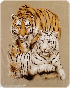 """TIGER TIGERS WHITE & YELLOW QUEEN 79""""X96"""" SOFT MEDIUM WEIGHT BED SPREAD BLANKET"""