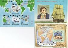 LOT OF 3 GREAT EXPLORERS CHRISTOPHER COLUMBUS JAMES COOK MNH STAMP SHEETLETS