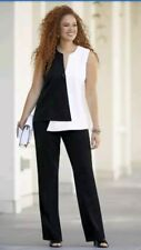 plus size 18W Opposites Attract Pant Suit black/ivory by Monroe and Main new