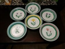 """BEAUTIFUL CALECA Hand Painted Meadow 8 5/8"""" Pasta Bowls Made in Italy Lot of 6"""