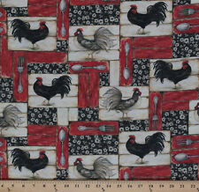 Cotton Country Flock Roosters Patch Barn Red Cotton Fabric Print by Yard D681.03