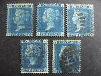 Great Britain wholesale 5 2 penny blue used Sc 29 Pl 9,13,14,14,?  see pictures!