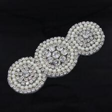 1X Pearl Crystal Beaded Rhinestone Applique Wedding Dress Belt Sash Sewing Craft