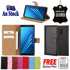For Samsung Galaxy A8 2018 Genuine Original Leather Wallet Flip PU Case Cover