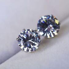 Fashion Women 925 Silver Crystal Round Zircon Inlaid Ear Stud Earrings Jewelry