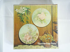 "Vintage Craft Floral Heritage Plate Kit 2 Decorative 9"" Plates NEW DIY"