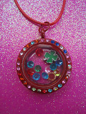 Living Memory Multi Crystal Red Round Locket with 7 crystals and charm USA