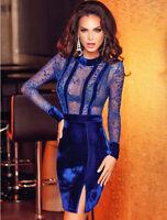 New elegant royal blue velvet & lace mini dress club party wear size L UK 12