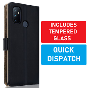 Wallet Leather Case for OnePlus Nord N100 Flip Cover & Glass Screen Protector
