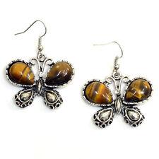 Butterfly Chandelier Earrings with Tiger Eye Stone