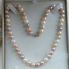 """Multicolor Pearl Necklace Charming 18""""Akoya Aaa 7-8mm"""