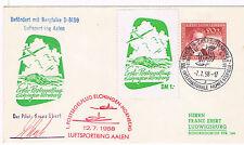 1958. Sobre con sello de Alemania Occ, matasello especial y viñetas avión