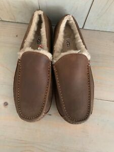 UGG   ASCOT TAN BROWN   LEATHER SHEEPSKIN  SLIPPERS MENS US 11  new