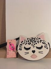 Luv Betsey Johnson Cream Black Leopard Kitty Cat Coin Purse Wristlet
