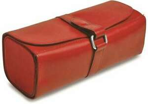 Red Leather Snap Strap Large Jewelry Roll