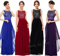 Vogue Womens Lace Formal Long Bridesmaid Prom Party Cocktail Evening Dress Gown