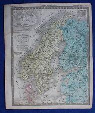 Original antique map SWEDEN, NORWAY, DENMARK, ICELAND, BALTIC STATES, c.1855
