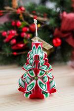 """HOLIDAY CANDELA CANDELE intagliati a mano """"ROSSO"""" Regalo di Natale decorativi Per pasqua"""