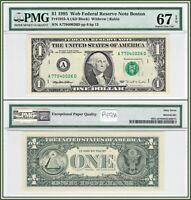 1995 Boston $1 Web Federal Reserve Note PMG 67 EPQ Superb Gem Unc Dollar FRN
