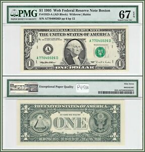 1995 Boston $1 Web Federal Reserve Note PMG 67 EPQ Superb Gem Unc Dollar FRN